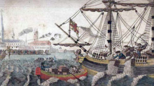 The Boston Tea Party - 32 cases of the first shipments of taxed tea into the harbour on the night of December 16 1773.