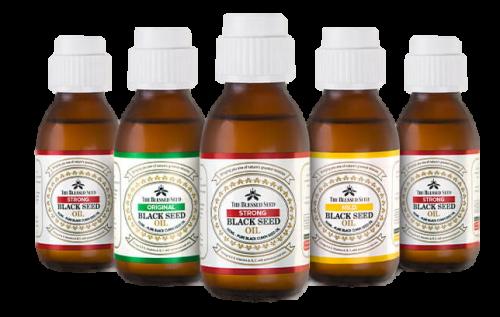 The Blessed Seed Black Seed Oil - Mild (1.2% volatile oil content); Organic (1.2% volatile oil content); Original (1.5%-1.7% volatile oil content) and Strong (4.3%-4.9% volatile oil content)