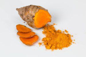 Fresh Turmeric root and powder -the main ingredient in Turmeric Golden Milk