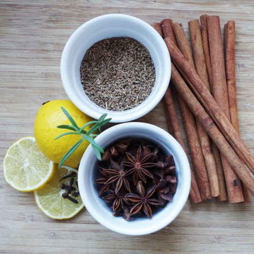 Adding aniseed, cinnamon or lemon to herbal teas for taste